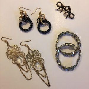 4 Earrings - Gold, Silver Hoops, Bows, Dangles